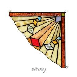 Mission Tiffany Style Stained Glass Corner Window Panels 8 X 8 Handcrafted PAIR