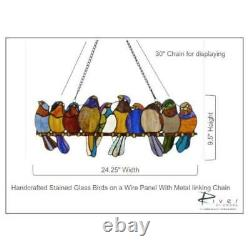 Multi Stained Glass Birds on a Wire Window Panel Handcrafted Decorative Wall Art