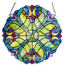 Multi Stained Glass Mini Halston Window Panel Handcrafted with Hanging Hardware