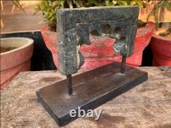 Old Ancient Green Stone Hand Crafted Jharokha Window Panel On Stand Decorative
