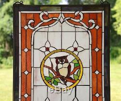 Owl Large Handcrafted stained glass window panel, 20 x 34