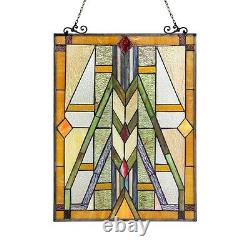 PAIR Handcrafted Stained Glass Tiffany Style Window Panel Mission Arts & Crafts