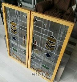 Pair Of Custom Handcrafted Mission Style Stained Glass Windows