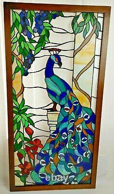 Peacock Handcrafted Stained Glass Window Panel Wood Frame 40.5 x 20.38 x 0.75