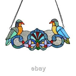 Perch Birds Tiffany-style Stained Glass Window Panel 7 H x 15.7 L Handcrafted