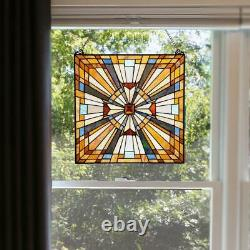 River of Goods Decorative Window Panel Handcrafted Multi-Colored Stained Glass