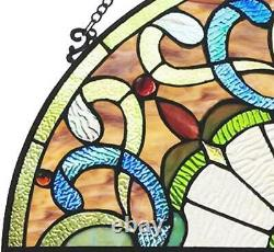 River of Goods Victorian Style 11 Inch High Stained Glass Half Moon Window Panel
