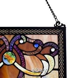 River of Goods Window Panel Handcrafted Amber Stained Glass Hanging Hardware