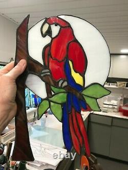 Scarlet Macaw Stained Glass art, handcrafted