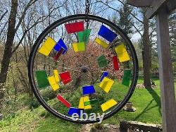 Stained Glass Bicycle Wheel Hand Crafted