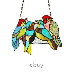 Stained Glass Birds Window Panel Handcrafted Tiffany Style 8 x 10