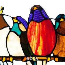 Stained Glass Birds on a Wire Sun Catcher Window Panel Handcrafted Wall Art