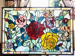 Stained Glass Chloe Lighting Butterfly & Roses Window Panel 27 X 19 Handcrafted