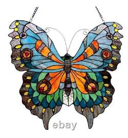 Stained Glass Chloe Lighting Butterfly Window Panel 20 X 21 Inches Handcrafted