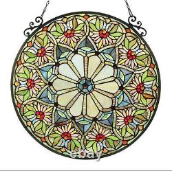 Stained Glass Chloe Lighting Floral Window Panel 23.4 Diameter Handcrafted New