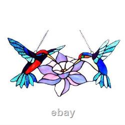 Stained Glass Chloe Lighting Hummingbirds Window Panel 18 Wide Handcrafted New