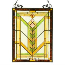 Stained Glass Chloe Lighting Mission Window Panel 17.5 X 24.5 Inches Handcrafted