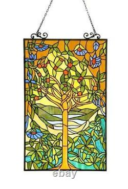 Stained Glass Chloe Lighting Tree Window Panel 20 X 32 Inches Handcrafted New