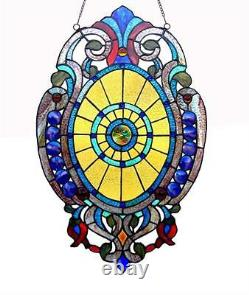 Stained Glass Chloe Lighting Victorian Window Panel 15 X 23 Handcrafted New