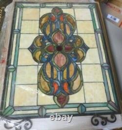 Stained Glass Chloe Lighting Victorian Window Panel 21 X 29 Handcrafted New