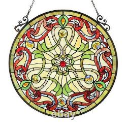 Stained Glass Chloe Lighting Victorian Window Panel 23.4 Diameter Handcrafted