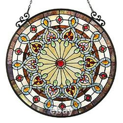 Stained Glass Chloe Lighting Victorian Window Panel 23.5 Diameter Handcrafted