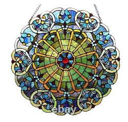 Stained Glass Chloe Lighting Victorian Window Panel 23 Diameter Handcrafted New