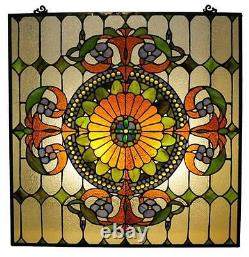 Stained Glass Chloe Lighting Victorian Window Panel 25 X 25 Handcrafted New