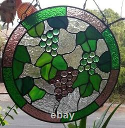 Stained Glass Grapes Round Window Panel Handcrafted Tiffany Style 12 Diameter