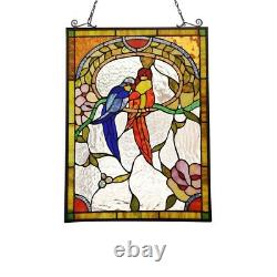 Stained Glass Love Birds Window Panel Handcrafted Tiffany Style 24.6 H x 17.7 W