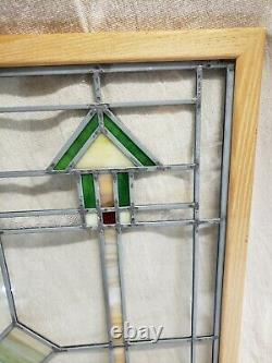 Stained Glass Multi-colored Window Panel 22 X 19 Handcrafted