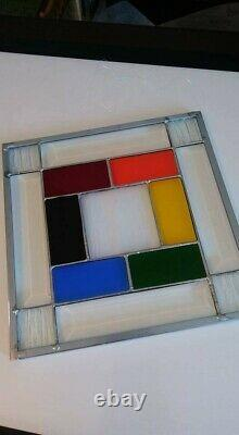 Stained Glass Panel Rainbow Design, Hand Crafted, USA high quality craftmanship