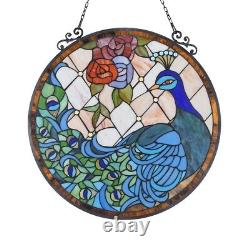 Stained Glass Peacock & Rose Round Window Panel Handcrafted Tiffany Style 24