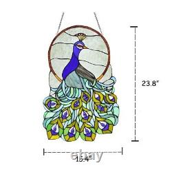 Stained Glass Peacock Window Panel Handcrafted Tiffany Style 15 x 24
