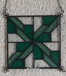 Stained Glass Quilted Square Panel 6 Inch Clear/Turquoise/Light Turquoise