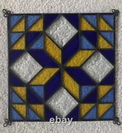 Stained Glass Quilted Square Panel 9 Inch Blue, Yellow, Clear