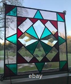 Stained Glass Quilted Square Panel 9 Inch Clear/Turquoise/Wine/Peach