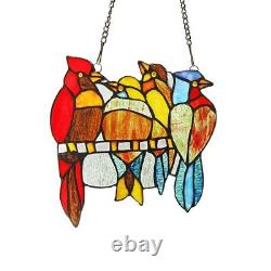 Stained Glass Red Bird Window Panel Handcrafted Tiffany Style 9 x 9