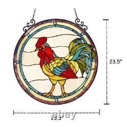 Stained Glass Rooster Round Window Panel Handcrafted Tiffany Style 24 Across