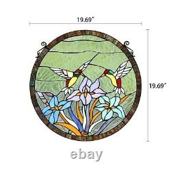 Stained Glass Round Window Panel 20 Handcrafted Hummingbirds Tiffany Style