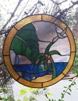 Stained Glass Sea View Round Window Panel Handcrafted Tiffany Style 12 Diameter