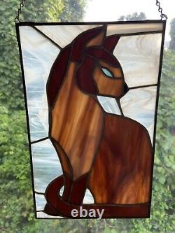 Stained Glass Siamese Cat Hand Crafted 12 1/2 x 8 inch Panel Pane Feline Kitty