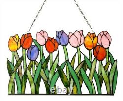 Stained Glass Spring Flowers Tulips Window Panel Decor Handcrafted