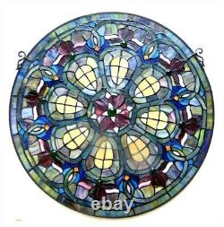 Stained Glass Tiffany Style Baroque Window Panel 24 Inches Handcrafted New
