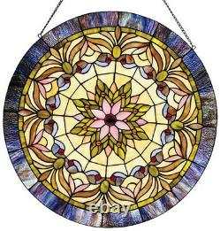Stained Glass Tiffany Style Edwardian Window Panel 22 Inches Handcrafted New