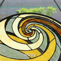 Stained Glass Tiffany Style Geometric Window Panel Handcrafted New 23D