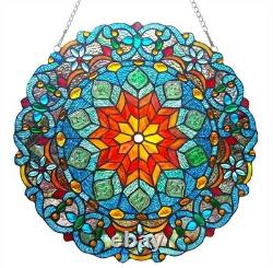Stained Glass Tiffany Style Round Window Panel Handcrafted Colorful 21D