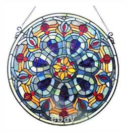 Stained Glass Tiffany Style Victorian Window Panel 20 Inches Handcrafted New