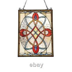 Stained Glass Tiffany Style Victorian Window Panel Handcrafted New 24H