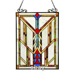 Stained Glass Tiffany Style Window Panel Arts & Crafts Matching PAIR Handcrafted